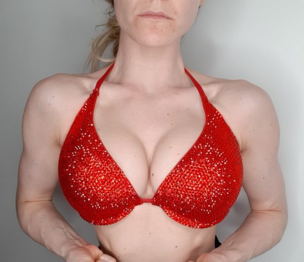 push up red stage competition bikini