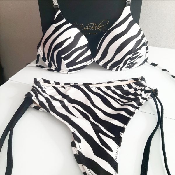 zebra print bikini push up bra and high waisted bikini bottoms